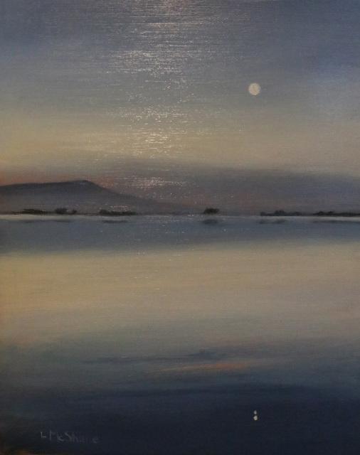 October Moon Over Samish Bay
