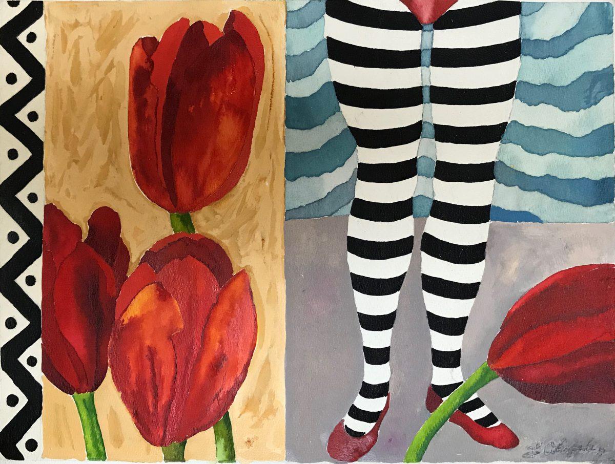 stripe legs tulips water